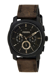 Fossil Analog Watch for Men with Leather Band, Water Resistant and Chronograph, FS4656, Brown-Black