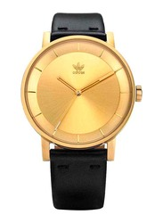 Adidas District L1 Analog Unisex Watch with Leather Band, Water Resistant, Z08-510-00, Black-Gold