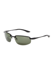Oxygen Half Rim Sport Sunglasses for Men, Green Lens, OX8992-C1, 64/16/135