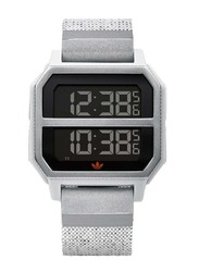 Adidas Archive R2 Digital Watch for Men with Silicone Band, Water Resistant, Z16-3199-00, Silver-Black