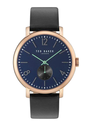 Ted Baker Oliver Analog Quartz Watch for Men with Leather Band, Water Resistant, TTBK10031515, Black-Blue/Rose Gold