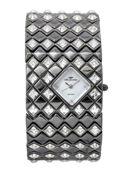 Mon Grandeur Analog Watch for Women with Stainless Steel Band, Water Resistant and Crystal Studded, GB-2396, Grey-White