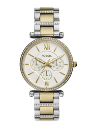 Fossil Limited Collection Carlie Analog Watch for Women with Stainless Steel Band, Water Resistant and Chronograph, ES4661, Gold/Silver-White