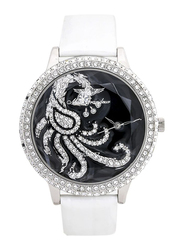 Mon Grandeur Analog Watch for Women with Leather Band, Water Resistant, Crystal Studded, GR-IN82322C, White-Black