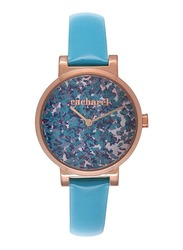Cacharel Analog Watch for Women with Leather Band, Water Resistant, CLD028/2JJ, Blue