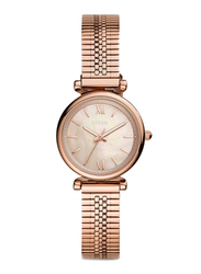 Fossil Limited Collection Carlie Mini Three-Hand Analog Watch for Women with Stainless Steel Band, Water Resistant, ES4697, Rose Gold-Pink