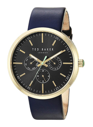 Ted Baker Jack Analog Watch for Men with Leather Band, Water Resistant and Chronograph, T TBK10031501, Blue