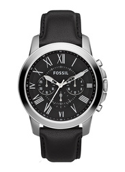 Fossil Grant Analog Watch for Men with Leather Band, Water Resistant and Chronograph, FS4812, Black