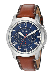 Fossil Grant Analog Watch for Men with Leather Band, Water Resistant and Chronograph, FS5210, Brown-Silver/Blue