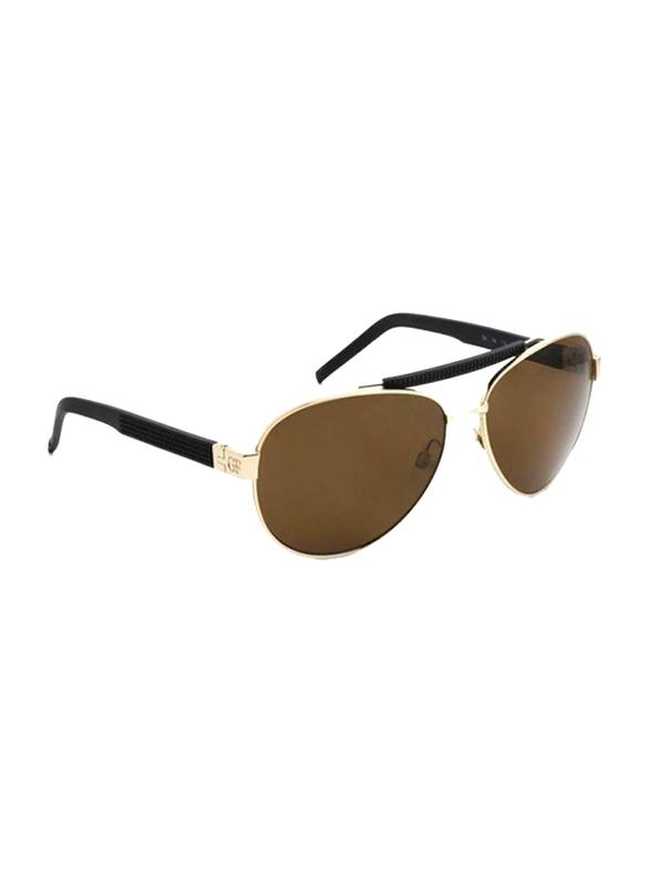 Gf Ferre Full Rim Aviator Sunglasses for Women, Brown Lens, GF982-02, 58/14/135