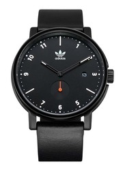 Adidas District LX2 Analog Watch for Men with Leather Band, Water Resistant, Z12-3037-00, Black