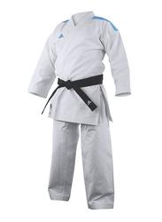 Adidas 120cm Stripes Kigai Hybrid Cut Karate Uniform without Belt, K888_2.0, White/Blue