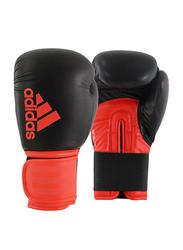 Adidas 12-oz Hybrid 100 Boxing Gloves, Black/Core Red