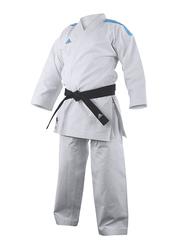 Adidas 150cm Stripes Kigai Hybrid Cut Karate Uniform without Belt, K888_2.0, White/Blue