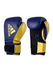 Adidas 10-oz Hybrid 150 Boxing Gloves for Women, Navy Blue/Gold