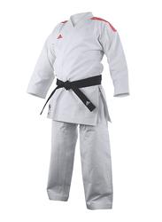 Adidas 165cm Stripes Kigai Hybrid Cut Karate Uniform without Belt, K888_2.0, White/Red