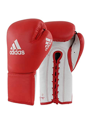 Adidas 12-oz Glory Professional Boxing Gloves with Lace, Red/White