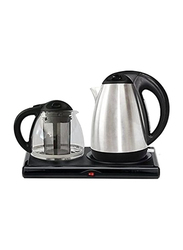 Seven Star 2L Electric Tea Tray with Glass Kettle, 2000W, 7STT337, Silver/Black