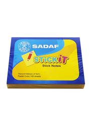 Sadaf StickIt Sticky Notes, 75 x 100mm, 100 Sheet, Pastel Yellow