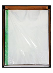 Sadaf Punched Pocket, A4 Size, Green Strip, 40 Microns, 100 Sheets Embossed, Clear