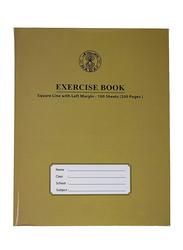 Sadaf 10mm Square Line with Left Margin Exercise Book, 100 Sheets, Brown