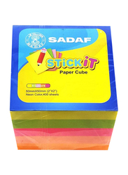 Sadaf PD-85 Paper Cube Sticky Notes, 50 x 50mm, 5 Neon Colour x 80 Sheet, 400 Sheet, Multicolour