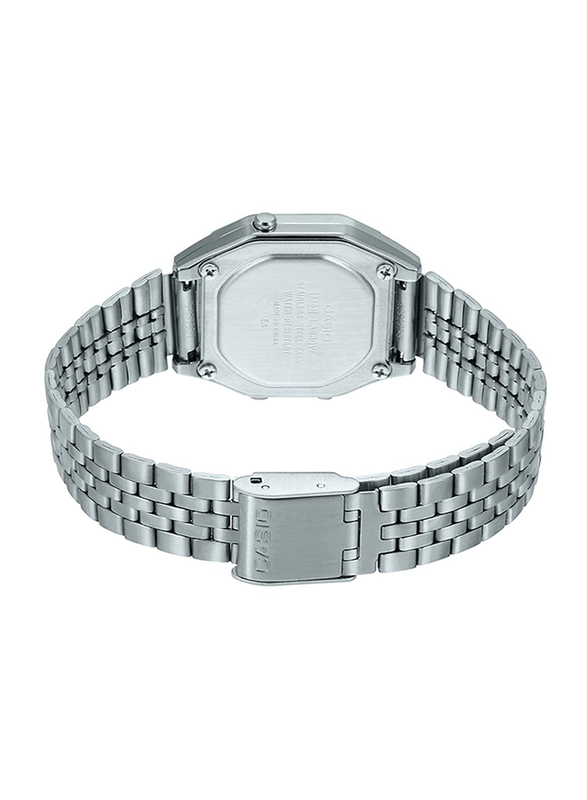Casio Digital Watch for Women with Stainless Steel Band, Water Resistance, LA680WA-4CDF, Silver-Grey