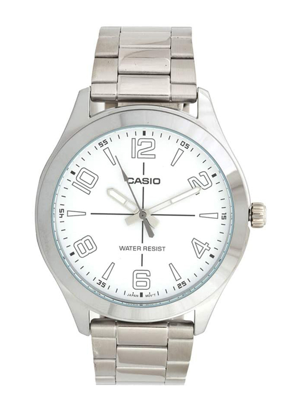 Casio Analog Watch for Men with Stainless Steel Band, Water Resistant, MTP-VX01D-7B, Silver-White