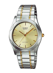 Casio Analog Watch for Men with Stainless Steel Band, Water Resistance, MTP-1275SG-9ADF, Silver-Gold