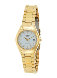 Casio Analog Watch for Women with Stainless Steel Band, Water Resistance, LTP-1170N-7ARDF, Gold-White