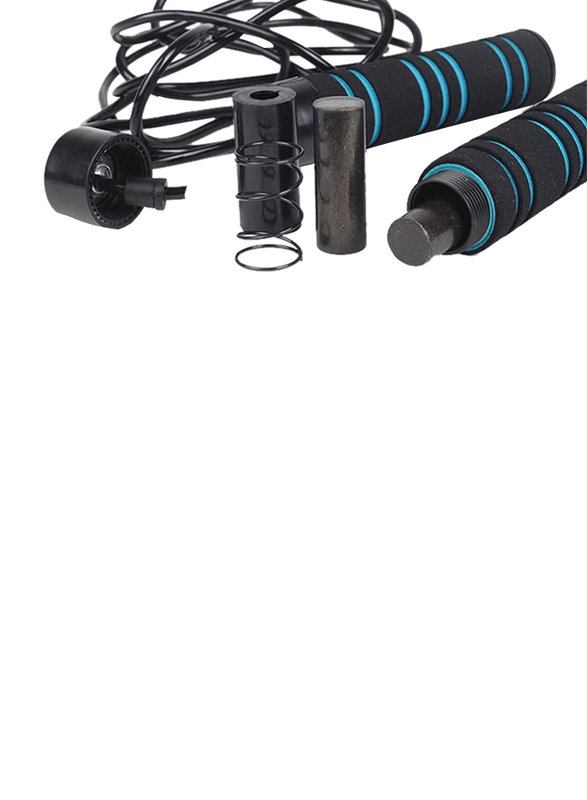 Winmax Weighted and Adjustable Jump Rope, WMF51647, 0.65kg, Black