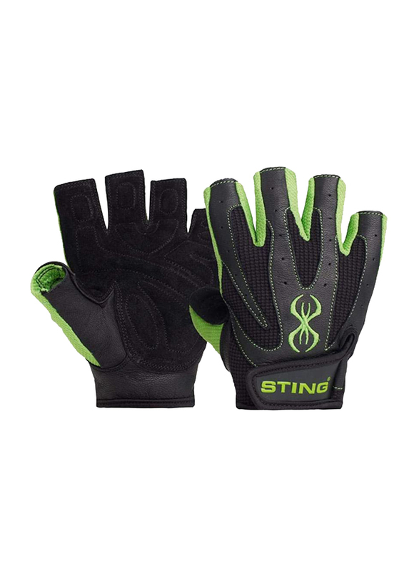 Sting Atomic Weight Lifting Gloves, Small, Green/Black