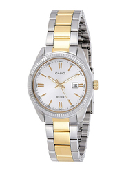 Casio Analog Watch for Men with Stainless Steel Band, Water Resistance, MTP-1302SG-7AV, Silver/Gold-White