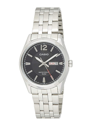 Casio Analog Quartz Watch for Men with Stainless Steel Band, Water Resistance, MTP-1335D-1A, Silver-Black