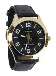 Casio Analog Watch for Men with Leather Band, Water Resistant, MTP-VX01GL-1BUDF, Black