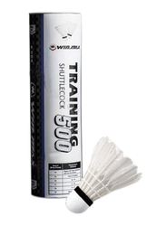 Winmax Training 500 Duck Feather Shuttlecock, 6-Piece, White