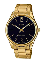 Casio Analog Watch for Women with Stainless Steel Band, Water Resistant, MTPV005G-1B, Gold-Black
