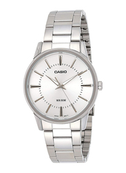Casio Analog Quartz Watch for Men with Stainless Steel Band, Water Resistance, MTP-1303D-7AV, Silver-White
