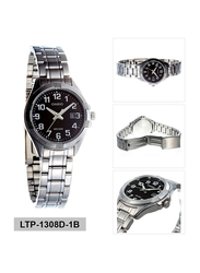 Casio Analog Watch for Women with Stainless Steel Band, Water Resistance, LTP-1308D-1BVDF, Silver-Black