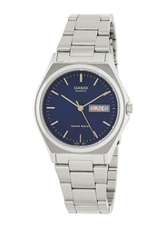 Casio Analog Watch for Men with Stainless Steel Band, Water Resistance, MTP-1240D-2A, Silver-Blue