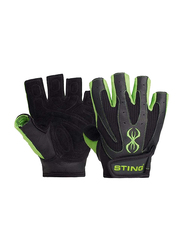 Sting Atomic Weight Lifting Gloves, Large, Green/Black