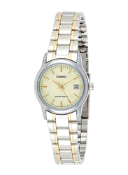 Casio Analog Quartz Watch for Women with Stainless Steel Band, Water Resistance, LTP-V002SG-9AUDF(A928), Silver-Gold