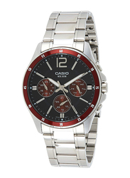 Casio Analog Quartz Watch for Men with Stainless Steel Band, Water Resistant and Chronograph, MTP-1374D-5AVDF, Silver-Black   MTP-1374D-5A