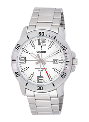 Casio Analog Quartz Watch for Men with Stainless Steel Band, Water Resistant, MTP-VD01D-7BVUDF, Silver-White