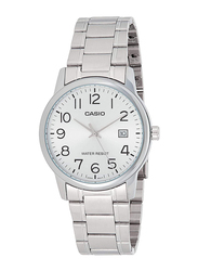 Casio Analog Watch for Men with Stainless Steel Band, Water Resistant, MTP-V002D-7BUDF, Silver