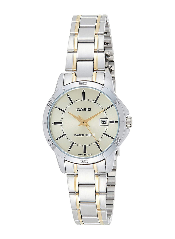 Casio Analog Quartz Watch for Women with Stainless Steel Band, Water Resistance, LTP-V004SG-9AUDF, Silver-White