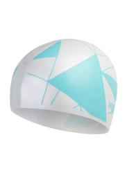 Speedo Long Hair Printed Cap, White/Blue
