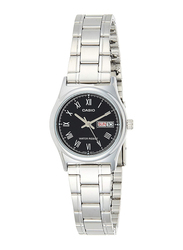 Casio Analog Watch for Women with Stainless Steel Band, Water Resistance, LTP-V006D-1B, Silver-Black