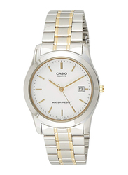 Casio Analog Quartz Watch for Men with Stainless Steel Band, Water Resistance, MTP-1141G-7A, Silver-White