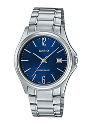 Casio Analog Watch for Men with Stainless Steel Band, Water Resistant, MTP1404D-2A, Silver-Blue
